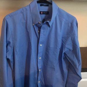Chaps twill button down blue dress shirt medium 15